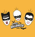 retro style vampire family wearing masks happy vector image