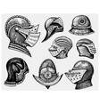 set medieval symbols battle helmets for knights vector image vector image