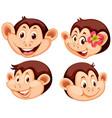set monkey facial expression vector image