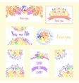 Set of cards with flowers and ribbons vector image vector image
