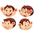 set of monkey facial expression vector image