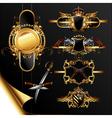 set of ornamental golden labels vector image