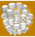 Set with cups and mugs Hand drawn zentangle vector image vector image