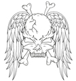 skull and wings tattoo vector image vector image