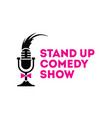 stand up comedy show mic sign emblem vector image vector image