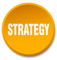 strategy orange round flat isolated push button vector image vector image