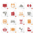 stylized hotel and motel facilities icons vector image vector image