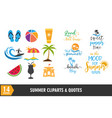summer beach icon and quote graphic design set vector image