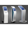three promotional interactive information kiosk vector image vector image