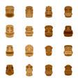 tiki idol aztec hawaii face icons set flat style vector image vector image