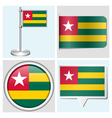 Togo flag - sticker button label flagstaff vector image vector image