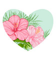 tropical floral heart vector image vector image