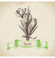 Vintage Easter background with crocus flowers vector image vector image