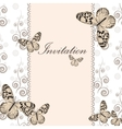 Vintage invitation card with white butterfly vector image vector image