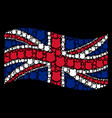 waving united kingdom flag collage of police vector image