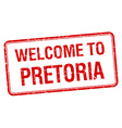 welcome to Pretoria red grunge square stamp vector image vector image