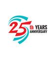 creative emblem twenty five years anniversary vector image