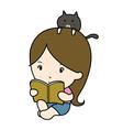 a small girl reading book cartoon vector image