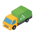 Garbage truck isometric 3d icon vector image