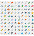 100 medicine icons set isometric 3d style vector image vector image