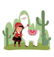 a little peruvian girl and a alpaca vector image