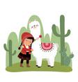 a little peruvian girl and alpaca