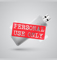 a metal pendrive with a warning sign vector image vector image
