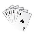 a royal flush clubs on white background vector image
