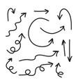 arrows icons hand drawn editable set vector image vector image