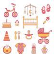 baby girl flat icons vector image