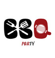 bbq party design white background image vector image vector image