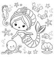 beautiful mermaid and sea animals vector image