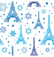 blue white eifel tower paris and snowflakes vector image vector image