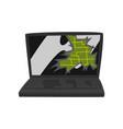 broken laptop damaged electronic device cartoon vector image vector image