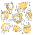 Bull cat cock dog monkey pig rat tiger vector image vector image