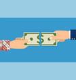 businessman hands tearing money banknote vector image