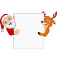 cartoon santa claus and reindeer pointing at blank vector image