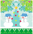 Christmas card with two funny snowmen vector image vector image