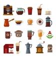 Coffee symbols set cup icons vector image vector image