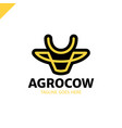 cow or bull head simple line logo vector image vector image