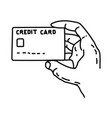 credit card icon doodle hand drawn or outline vector image vector image