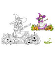cute girl in witch costume sitting on fence vector image vector image