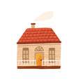 cute little country house with door windows and vector image