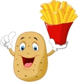 cute potato holding a french fries give thumb up vector image vector image
