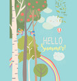 different trees in summer forest with rainbow vector image vector image