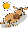 dog taking sunbath cartoon vector image vector image
