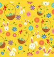 easter bunny eggs and spring wallpaper seamless vector image vector image