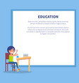 education poster with profile boy on chemistry vector image vector image