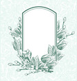 engrave flowers frame tulips monochrome pattern vector image