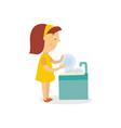 falt girl washing dishes isolated vector image vector image